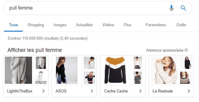 annonces showcase google shopping