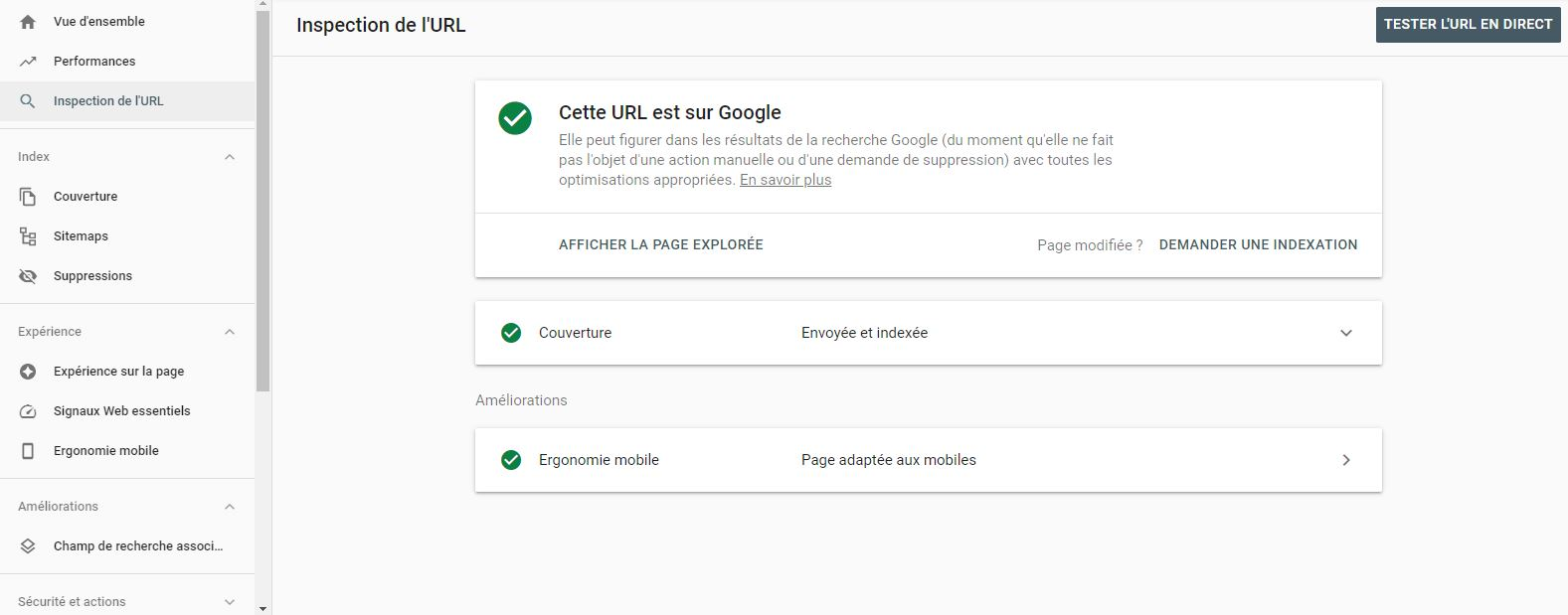 soumettre indexer page google search console